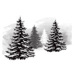 Spellbinders - Holiday Collection - Christmas - 3D Shading Cling Stamps - Pine Tree