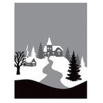 Spellbinders - Holiday Collection - Christmas - 3D Shading Cling Stamps - Winter Village