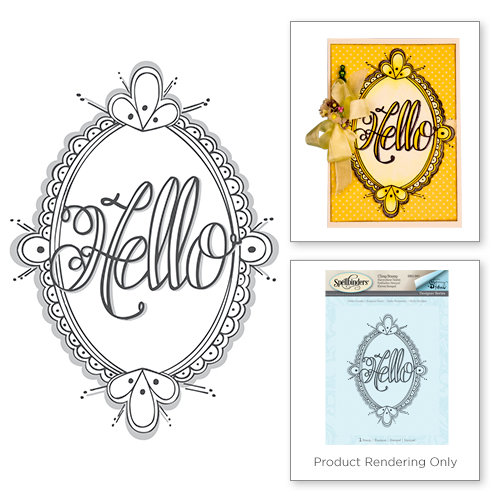 Spellbinders - Happy Grams 2 Collection - Rubber Stamps - Hello Ornate