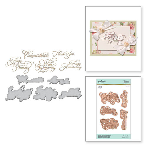 Spellbinders - Glimmer Hot Foil Collection - Glimmer Plate and Dies - Elegant Occasion Sentiments