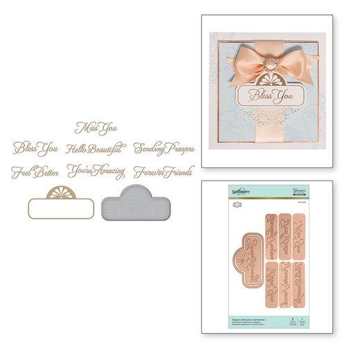 Spellbinders - Glimmer Hot Foil - Glimmer Plate and Dies - Elegant Affirmation Sentiments