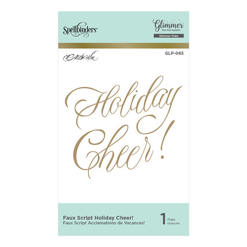 Spellbinders - Christmas - PA Scribe Holiday Glimmer Collection - Glimmer Hot Foil - Glimmer Plate - Faux Script Holiday Cheer