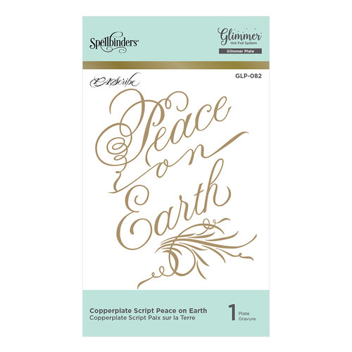Spellbinders - Christmas - PA Scribe Holiday Glimmer Collection - Glimmer Hot Foil - Glimmer Plate - Copperplate Script - Peace on Earth