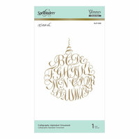 Spellbinders - Christmas - PA Scribe Holiday Glimmer Collection - Glimmer Hot Foil - Glimmer Plate - Calligraphy Alphabet Ornament