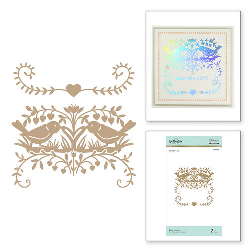 Spellbinders - Happy Collection - Glimmer Hot Foil - Glimmer Plate - Birds Forever