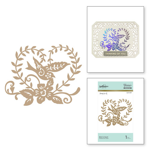 Spellbinders - Happy Collection - Glimmer Hot Foil - Glimmer Plate - Bird in Heart