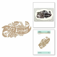 Spellbinders - Happy Collection - Glimmer Hot Foil - Glimmer Plate - Birthday Banner