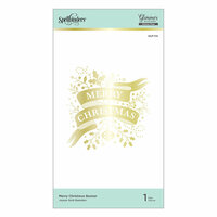 Spellbinders - Holiday 2019 Glimmer Collection - Glimmer Hot Foil - Glimmer Plate - Merry Christmas Banner