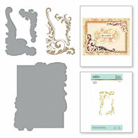 Spellbinders - The Gilded Age Collection - Glimmer Hot Foil - Glimmer Plate - Leaves Shaped Panel