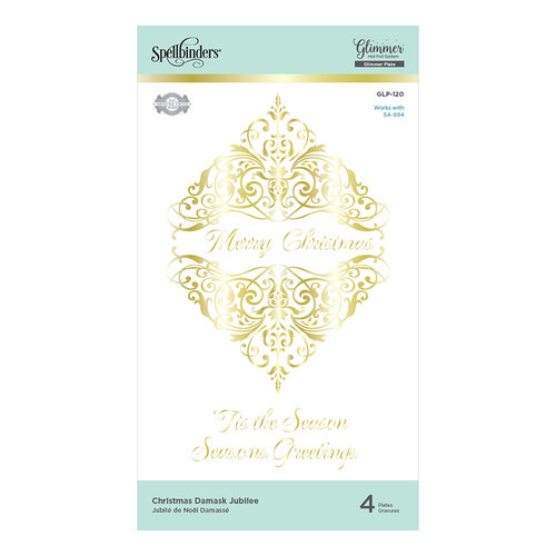 Spellbinders - Glistening Holiday Glimmer Collection - Glimmer Hot Foil - Glimmer Plate - Christmas Damask Jubilee