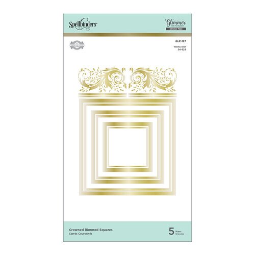 Spellbinders - Royal Flourish Collection - Glimmer Hot Foil - Glimmer Plate - Crowned Rimmed Squares