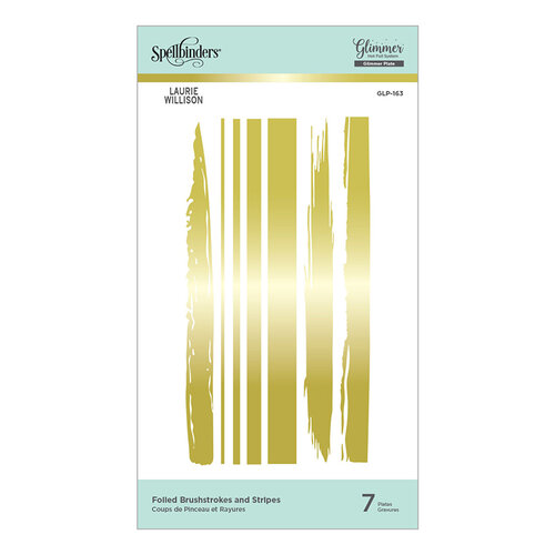 Spellbinders - Effortless Greetings Collection - Glimmer Hot Foil - Glimmer Plate - Foiled Brushstrokes and Stripes