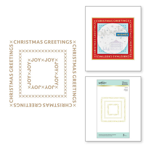 Spellbinders - Glimmer Hot Foil Collection - Sparkling Christmas Collection - Glimmer Plate - Christmas Essential Glimmer Squares