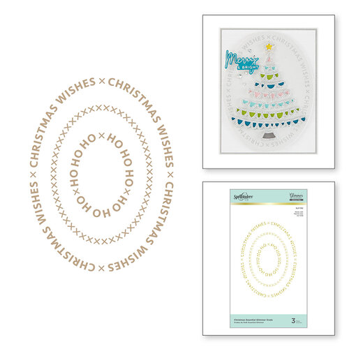 Spellbinders - Glimmer Hot Foil Collection - Sparkling Christmas Collection - Glimmer Plate - Christmas Essential Glimmer Ovals