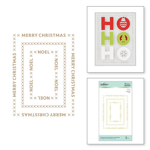Spellbinders - Glimmer Hot Foil - Sparkling Christmas Collection - Glimmer Plate - Christmas Essential Glimmer Rectangles
