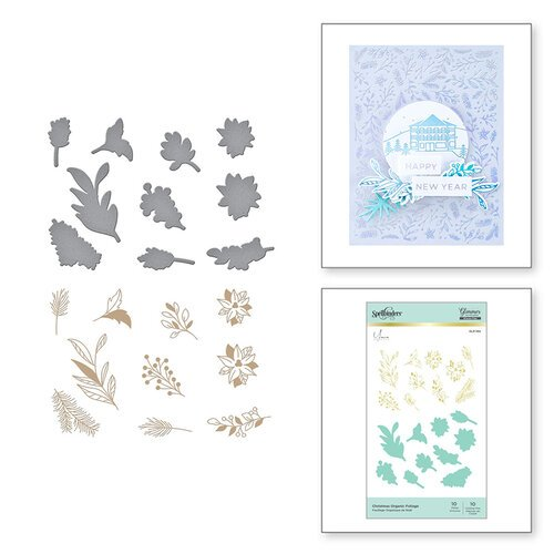 Spellbinders - Glimmer Hot Foil Collection - Glimmer Plate and Dies - Christmas Organic Foliage