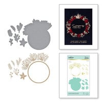 Spellbinders - Glimmer Hot Foil - Christmas - Glimmer Plate and Dies - Christmas Foliage Circle Border