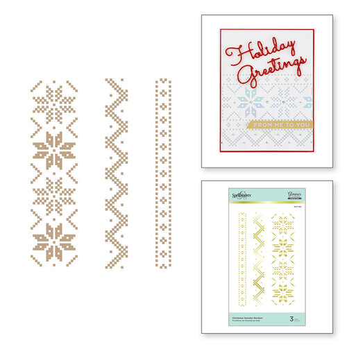 Spellbinders - Glimmer Hot Foil - Sparkling Christmas Collection - Glimmer Plate - Christmas Sweater Borders