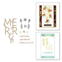 Spellbinders - Glimmer Hot Foil - Sparkling Christmas Collection - Glimmer Plate and Dies - Merry Salutations