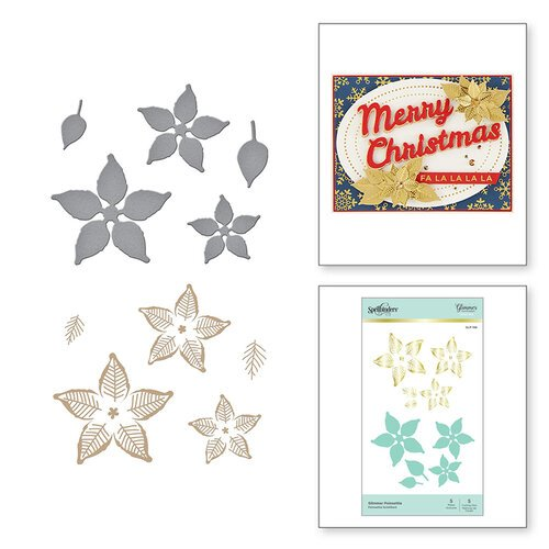Spellbinders - Glimmer Hot Foil Collection - Sparkling Christmas Collection - Glimmer Plate and Dies - Glimmer Poinsettia