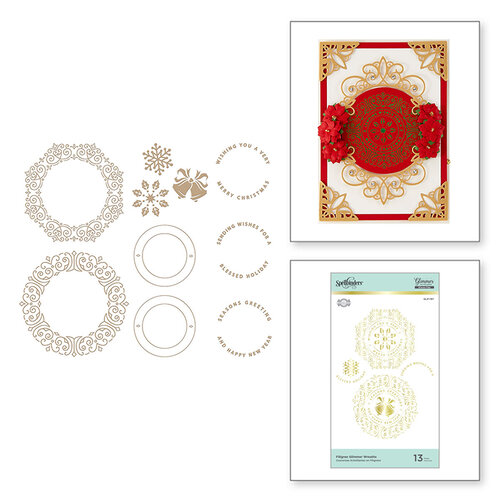 Spellbinders - Glimmer Hot Foil Collection - Christmas Cascade Collection - Glimmer Plate - Filigree Wreaths