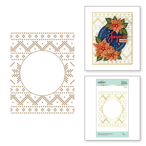 Spellbinders - Glimmer Hot Foil - Sparkling Christmas Collection - Glimmer Plate - Christmas Sweater Background