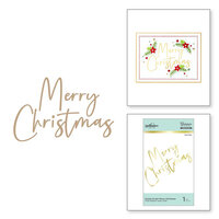 Spellbinders - Glimmer Hot Foil - Sparkling Christmas Collection - Stylish Script - Glimmer Plate - Merry Christmas