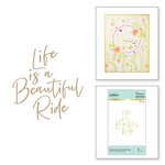 Spellbinders - Glimmer Hot Foil Collection - Stylish Script - Glimmer Plate - Beautiful Ride