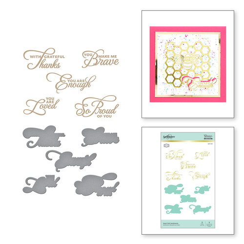 Spellbinders - Glimmer Hot Foil - Sweet Cardlets Collection - Glimmer Plate and Dies - Heart Felt Sentiments