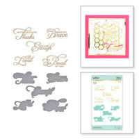 Spellbinders - Glimmer Hot Foil Collection - Sweet Cardlets Collection - Glimmer Plate and Dies - Heart Felt Sentiments