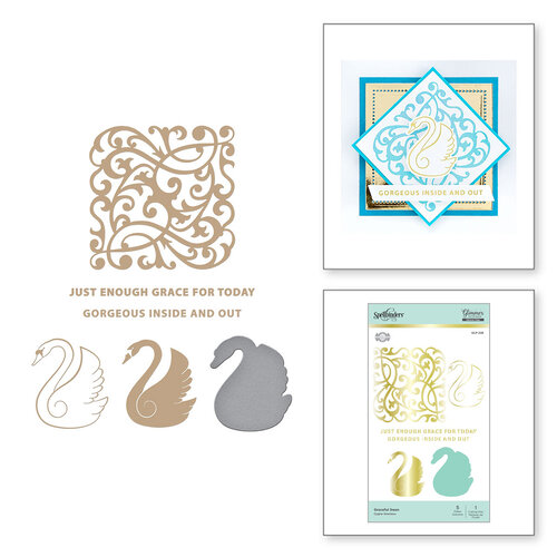 Spellbinders - Glimmer Hot Foil - Sweet Cardlets Collection - Glimmer Plate and Dies - Graceful Swan