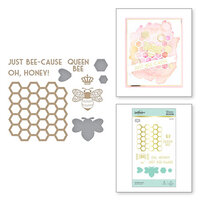 Spellbinders - Glimmer Hot Foil - Sweet Cardlets Collection - Glimmer Plate and Dies - Just Bee-cause