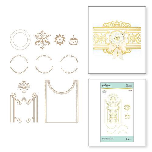 Spellbinders - Glimmer Hot Foil Collection - Glimmer Plate - Filigree Crescent Band