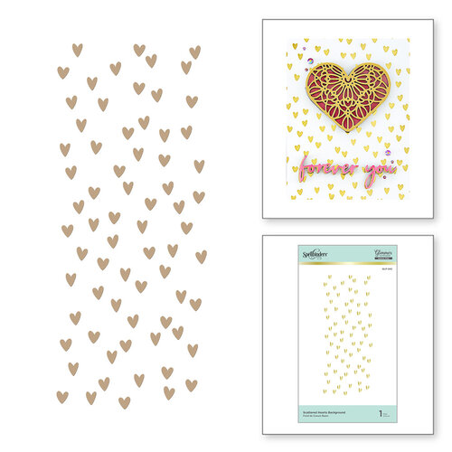 Spellbinders - Glimmer Hot Foil Collection - Glimmer Plate - Scattered Hearts Background