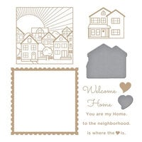 Spellbinders - Glimmer Hot Foil - Sweet Cardlets II Collection - Glimmer Plate - You Are My Home