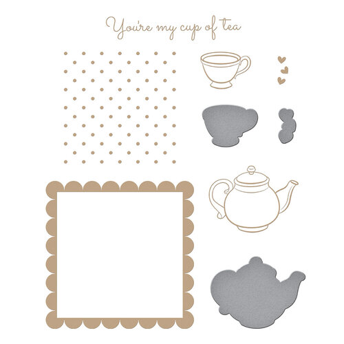 Spellbinders - Glimmer Hot Foil - Sweet Cardlets II Collection - Glimmer Plate - Cup Of Kindness