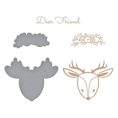Spellbinders - Glimmer Hot Foil - Sweet Cardlets II Collection - Glimmer Plate - Deer Friend