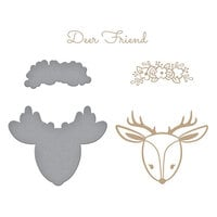 Spellbinders - Glimmer Hot Foil - Sweet Cardlets II Collection - Glimmer Plate - Deer Friend