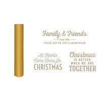 Spellbinders - Glimmer Hot Foil - Be Merry Collection - Glimmer Plate and Matte Gold Foil Roll - Gifts of Christmas Sentiments Bundle