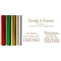 Spellbinders - Glimmer Hot Foil - Be Merry Collection - Glimmer Plate and Foil Roll Variety Pack - Gifts of Christmas Sentiments Bundle