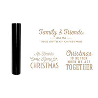 Spellbinders - Glimmer Hot Foil - Be Merry Collection - Glimmer Plate and Black Foil Roll - Gifts of Christmas Sentiments Bundle