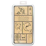 Spellbinders - Wood Mounted Rubber Stamps - Tin of Mermaids