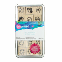 Spellbinders - Artomology Collection - Wood Mounted Rubber Stamps - Tin of Friends