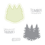 Spellbinders - Lumberjack Days Collection - Die and Clear Acrylic Stamp Set - Timber