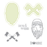 Spellbinders - Lumberjack Days Collection - Die and Clear Acrylic Stamp Set - Bromance