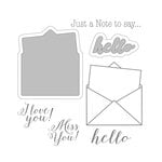 Spellbinders - Noteworthy Collection - Die and Clear Acrylic Stamp Set - Hello Note