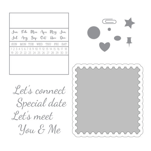 Spellbinders - Noteworthy Collection - Die and Clear Acrylic Stamp Set - Let
