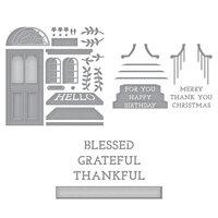 Spellbinders - Open House Collection - Etched Dies - Open House Door Base, Sentiment Steps and Grateful Sentiment Steps Bundle