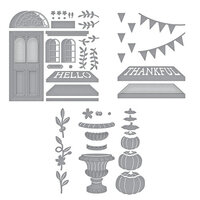 Spellbinders - Open House Collection - Etched Dies - Open House Door Base, Thankful and Pumpkin Topiary Bundle