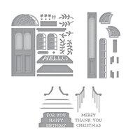 Spellbinders - Open House Collection - Etched Dies - Open House Door Base, Door Side Panel and Sentiment Steps Bundle